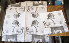 5 NEW GERMAN VICTORIAN BLACK WHITE CHILD AT DESK ART DECOUPAGE PAPER NAPKINS