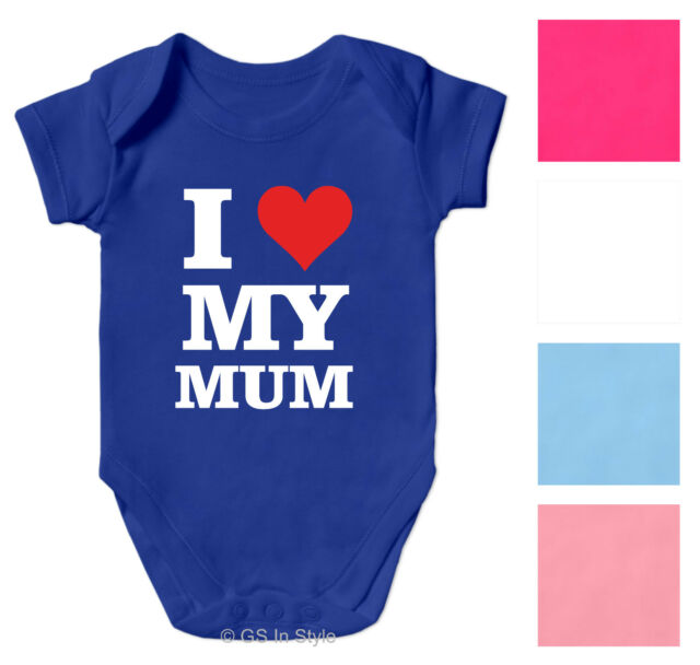 I LOVE MY MUM COTTON BODYSUIT BABY GROW BOY GIRL CLOTHES SHORT SLEEVE VEST GIFT