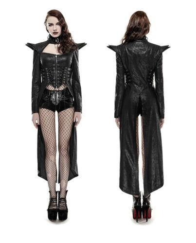 Gothic Punk Rave Steampunk Queen Mantel Kleid Coat Dress Kunst-Leder Kei Y670