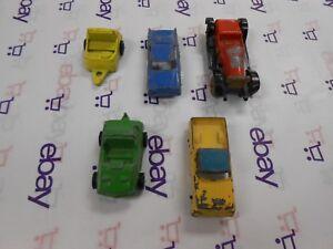 Vintage-TootsieToy-Lot-of-5-Mixed-Metal-Toy-Cars-Orange-Yellow-Black-Lot-18