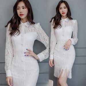 buy online 2e912 0337c Dettagli su vestito corto abito tubino elegante bianco pizzo morbido moda  manica 4865