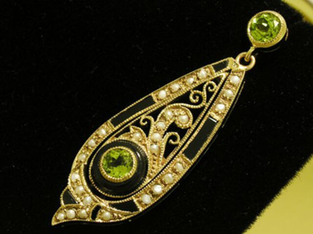 C536 Genuine 9ct SOLID Yellow Gold Natural Peridot, Onyx & Pearl Large Earrings