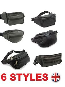 Real-Leather-Bum-Waist-Bag-Travel-Holiday-Money-Belt-Pouch-Black-Change-Bumbag