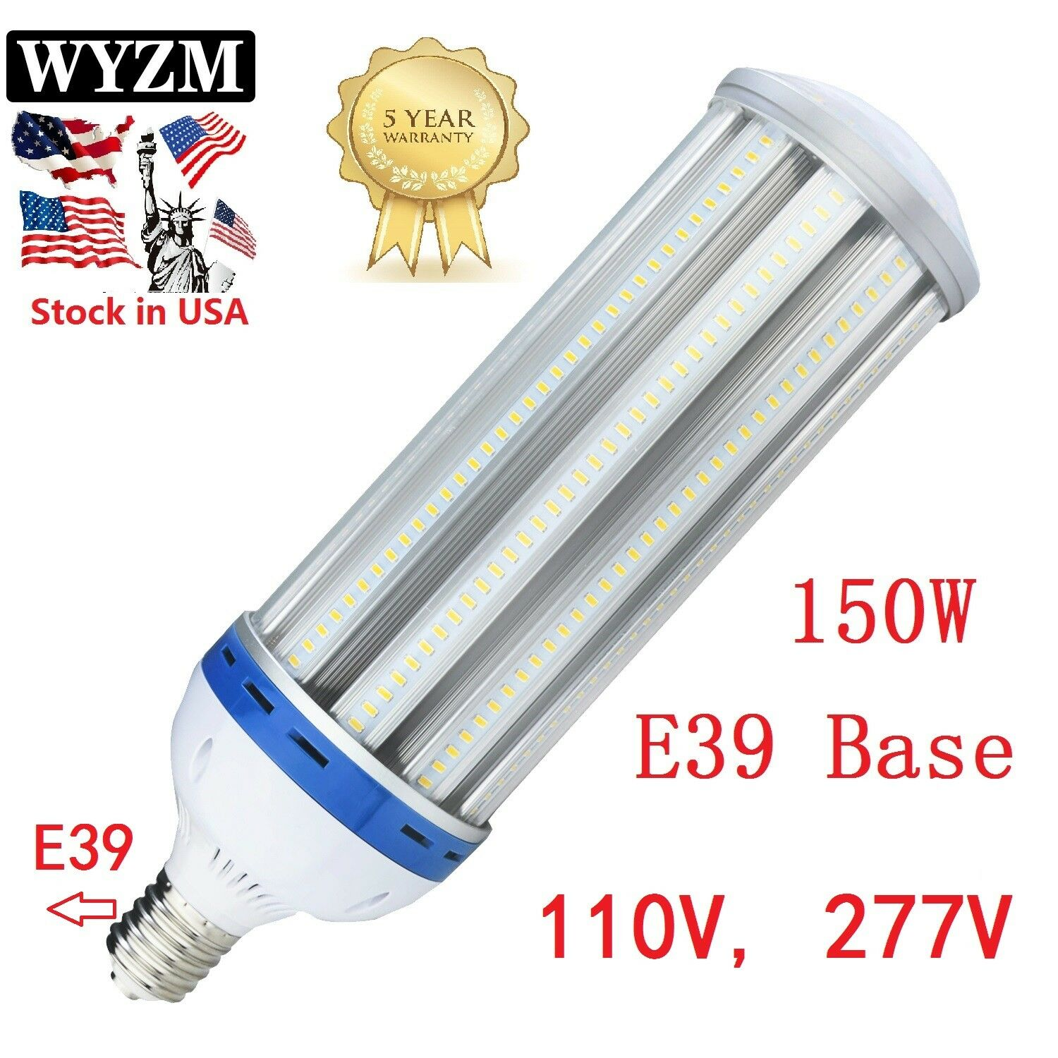 COB LED Corn Light Bulb E39 for Street Lamp Post Lighting Garage Factory 5500K