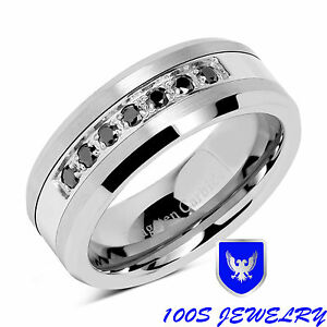 8mm-Mens-Tungsten-Ring-Black-Diamond-Inlay-Center-Brushed-Wedding-Band-Size-8-16