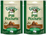 (2) Greenies Pill Pockets For Dogs 3.2oz Tablet Peanut Butter Flavored