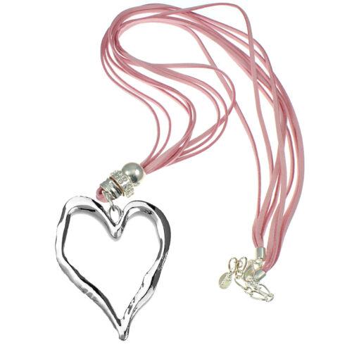Lagenlook Grande en Plata Corazón Colgante Collar Largo De Montaje De Gamuza Cuero Rosa