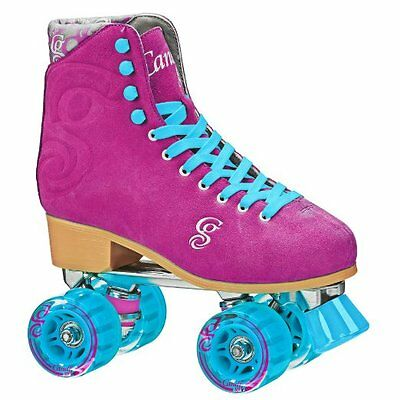 White /& Pink Candi Girls Sabina High Top Quad Roller Skates by Roller Derby New