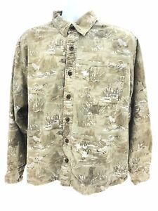 Eddie Bauer Thick Cotton Long Sleeve Button Up Goose Theme Shirt Mens XL Regular
