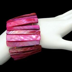 Vintage-Cuff-Bangle-Bracelet-Mid-Century-Dyed-Mother-of-Pearl-Fuchsia-Extra-Wide