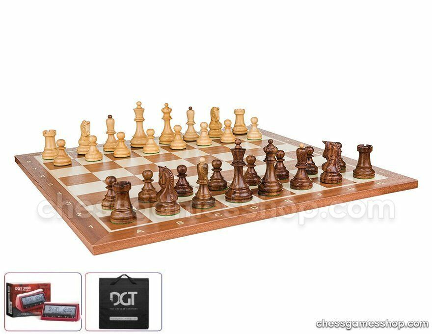 DUBROVNIK ROYAL WOODEN chess set with timer e autorying  borsa-He crafted pieces  Sconto del 60%