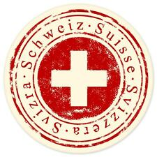 "Switzerland Swiss travel car bumper window suitcase sticker 4"" x 4"""
