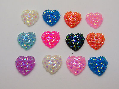 100 Mixed Color Flatback Resin Heart Cabochon Gem Pyramid Dotted Rhinestone 12mm
