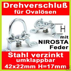 mit Nirosta-Feder,Verzinkt Umklappbar 5 Drehverschlüsse für Ovalösen 42 x 22mm