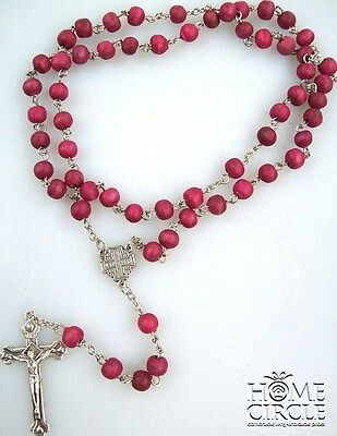 MAGENTA COLOR WOODEN BEADS ROSARY NECKLACE WITH A CROSS 48CM HOLY
