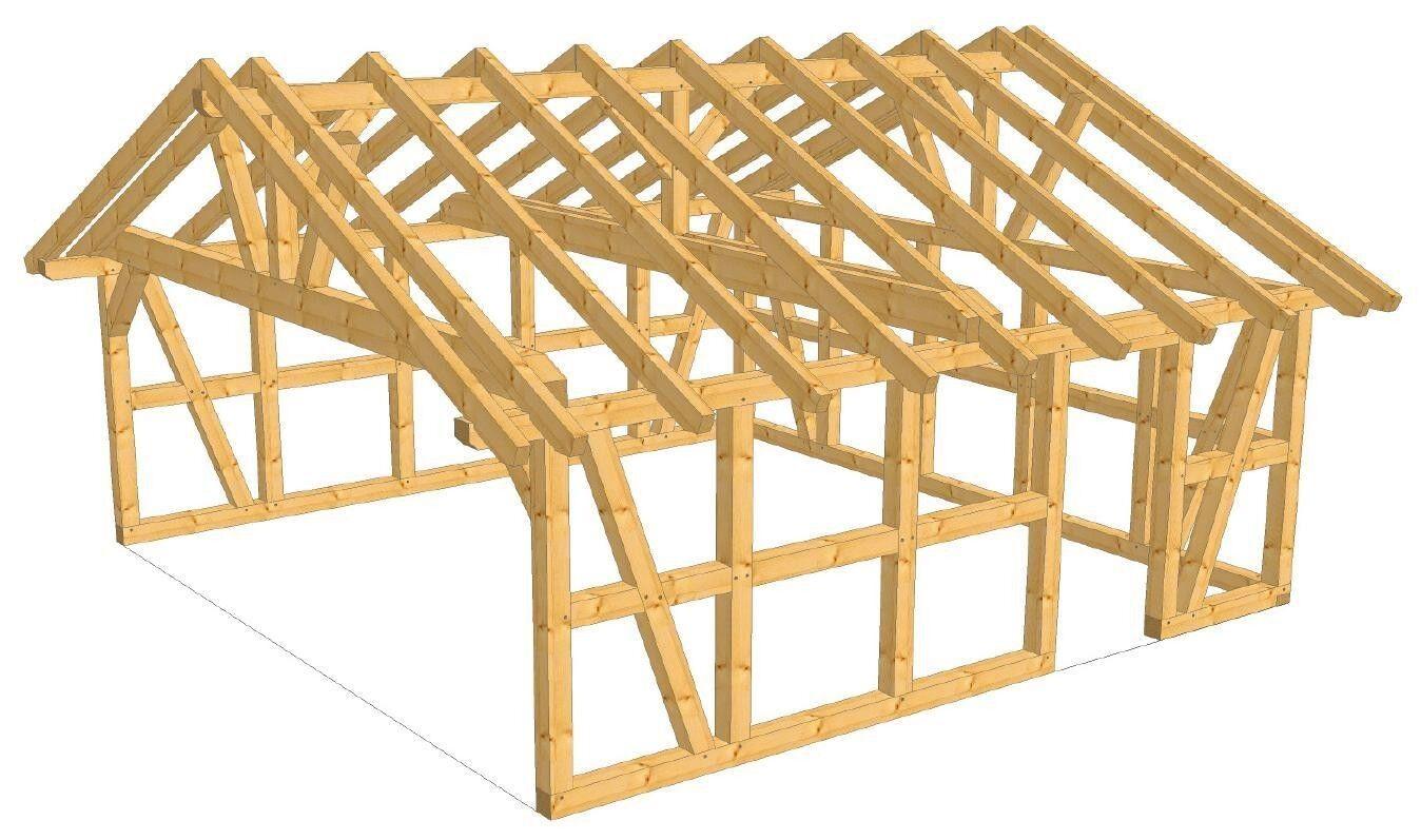 Fachwerk Garage - Hannover, Satteldach KVH 6,14 x 6,04 m als Bausatz