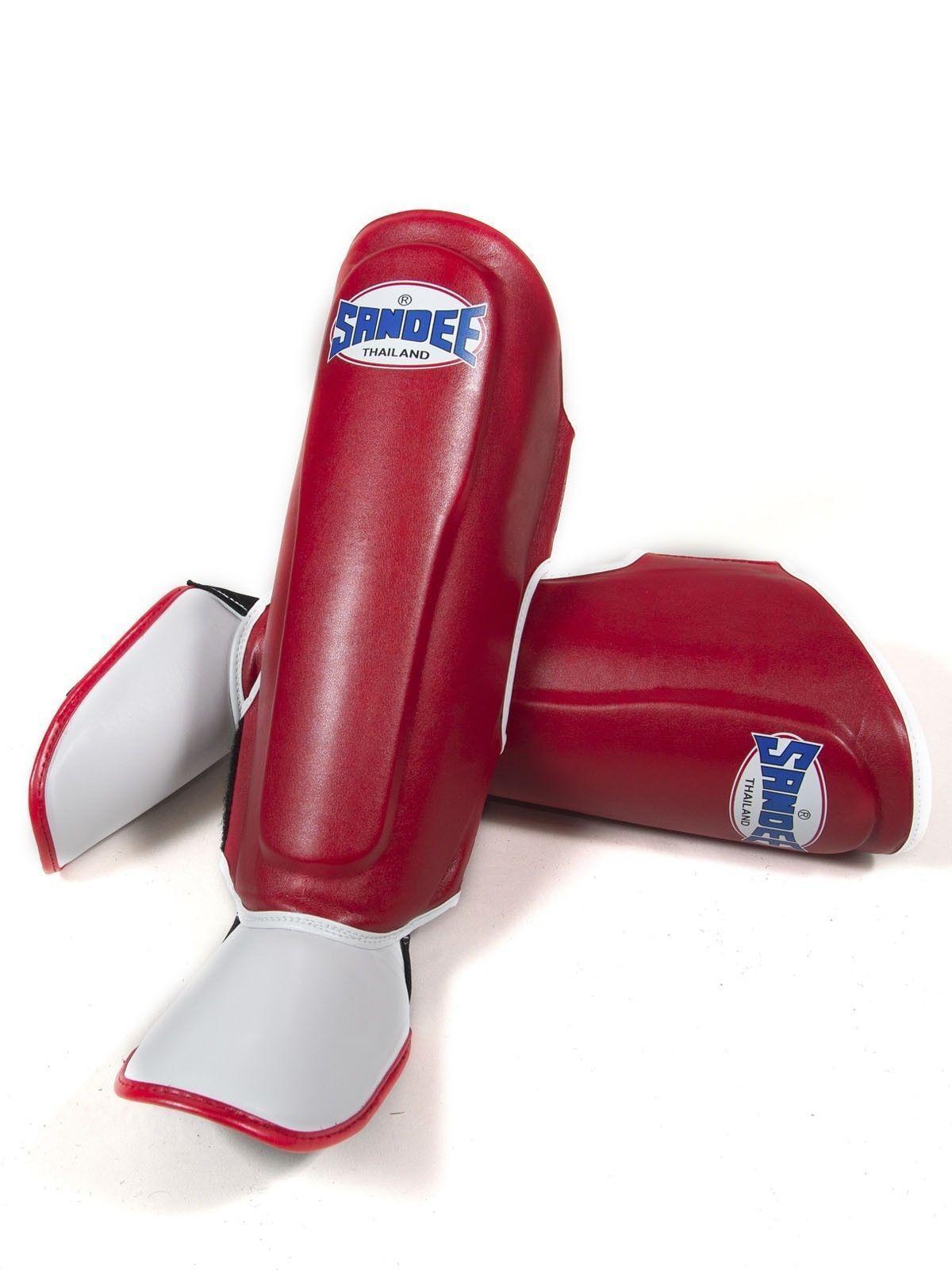 SANDEE AUTHENTIC rosso in pelle Guardie sintetica stivali Shin Guardie pelle MUAY-THAI BOXING-Kids 502bf8