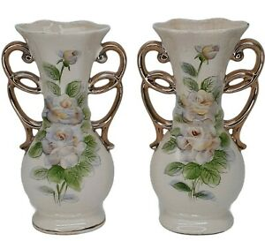 "Vintage Porcelain 6.5"" Bud Vase Hand Painted Flowers Goldtone Scroll Accents"