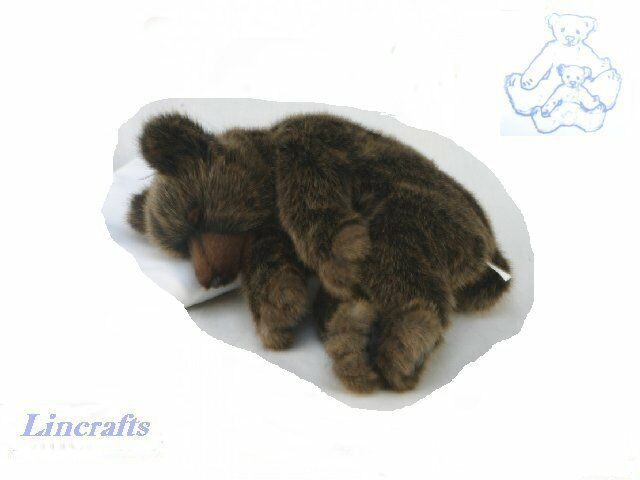 Sleeping Grizzly Bear Plush Soft Toy by Hansa. Sold by Lincrafts. 4685