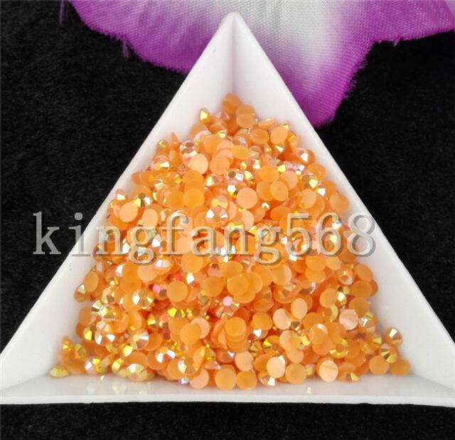 Jelly Orange red AB Crystal Multiple facets resin Flat Back Rhinestones Nail art