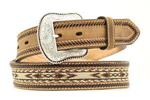 Nocona-Medium-Brown-Leather-Mens-Braided-Horse-Hair-Belt