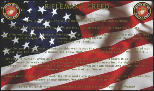 "40/"" x 24/"" LARGE WALL POSTER PRINT NEW Riflemans Creed USMC American Flag"