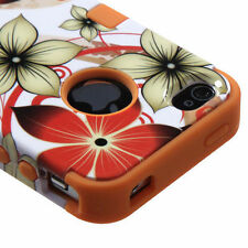for iPhone 4 4S - Orange White Flower Hybrid Armor Hard & Soft Rubber Case Cover