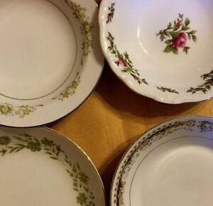 4-Vintage-Mismatched-China-Berry-Dessert-Fruit-Bowls-Green-Wedding-114