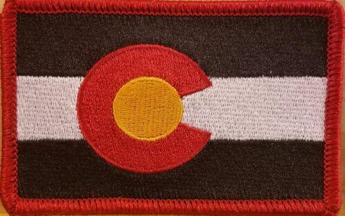 COLORADO Flag Tactical Custom /& Unique Iron-On Patch Morale Emblem Red Border