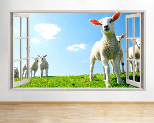 Wall Stickers Lamb Sheep Farm Field Animal Window Decal 3D Art Vinyl Room C625