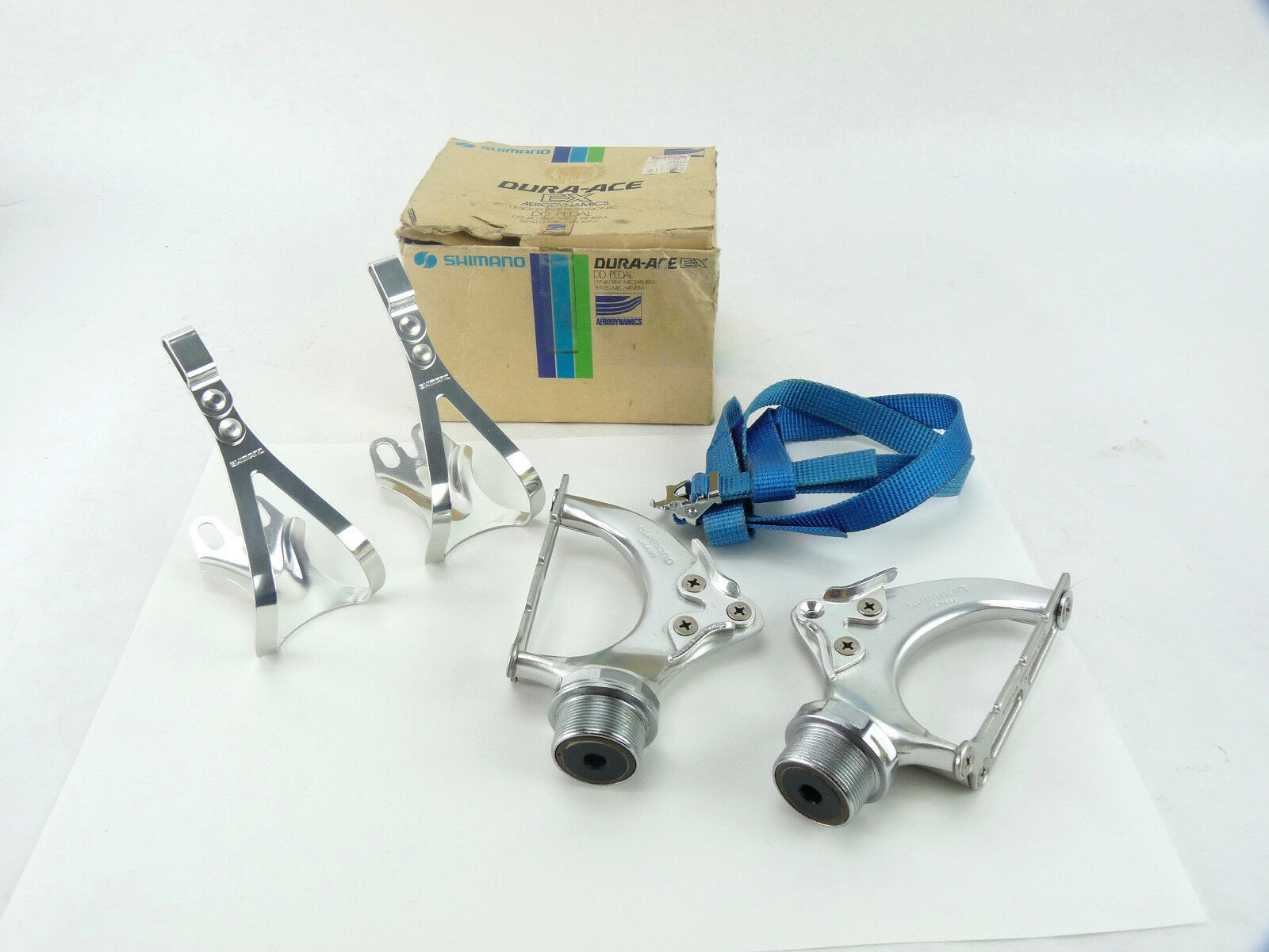 Dura Ace Pedals AX Shimano Dynadrive w toe Clips & Straps Vintage Bicycle NOS