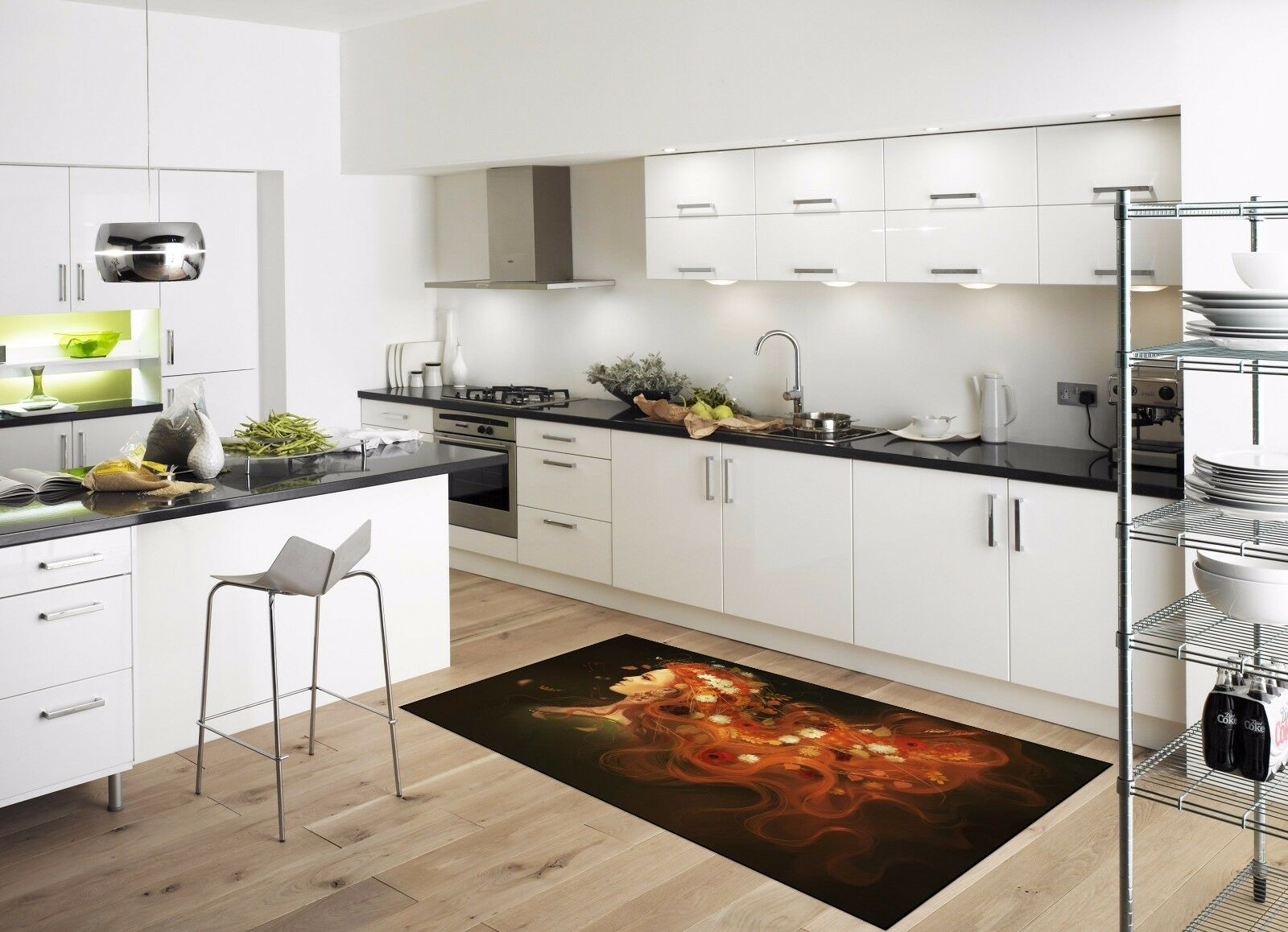 3D Long Hair Girl7 Kitchen Mat Floor Murals Wall Print Wall AJ WALLPAPER AU Kyra