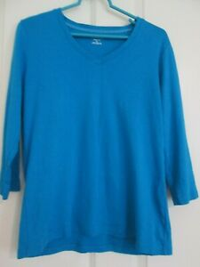 St-Johns-Bay-Classic-V-Neck-Top-3-4-Sleeve-Aqua-Large-NWOT