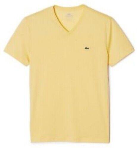 Lacoste Pima Cotton V Neck T Shirt # TH6604 51 W42 Warm Yellow Men SZ S 3XL