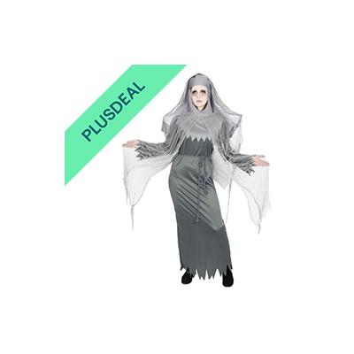 besessene Geister Nonne Kostüm für Damen Halloween Nonnen Zombie weiss Gr. S-XXX