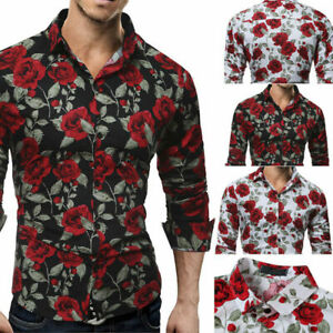 New-Slim-Men-Luxury-Long-Sleeve-Tops-Tee-Fit-Casual-Rose-Flower-Printed-Shirts