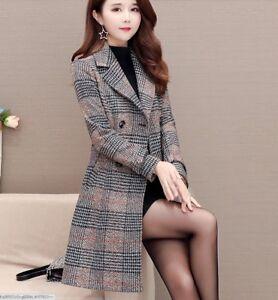 b1cab2185 Korean Fashion Double Breasted Slim Long Grids Checks Women Winter ...