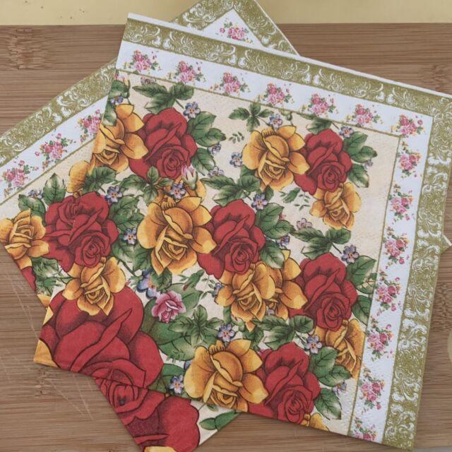 Paper Lunch Napkins Dahlia Garden Floral Cream 3-ply Disposable Party Serviettes