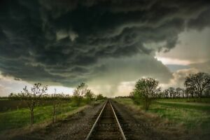 Storm Photography Print Picture of Railroad Tracks and Thunderstorm in Kansas