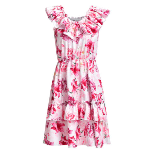 ❤Womens Sleeveless Floral Ruffle Mini Dress Holiday Party Summer Beach Sundress❤