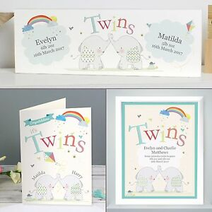 Image Is Loading Personalised Gifts Twins Hessian Elephant Birthday New