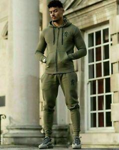 Gym-King-Mens-New-Designer-Fleece-Casual-Zip-Thru-Hooded-Full-Tracksuit-Olive