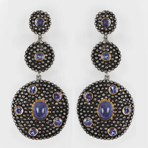8-55Ct-Tanzanite-Dangle-Drop-Earrings-Solid-925-sterling-Silver-Diamond-Pave-New