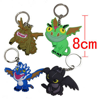 4pcs How To Train Your Dragon 2 Toothless Night Fury PVC keychain keyring Charm