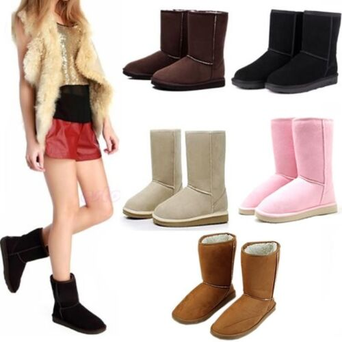 Womens Girls Winter Warm Suede Fur Lined Mid-calf Snow Flat Short Boots Shoes