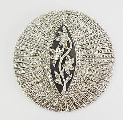 Charming sterling silver brooch black onyx two garnest leaves in striking spiraling design one marcasite pendant too vintage flowers