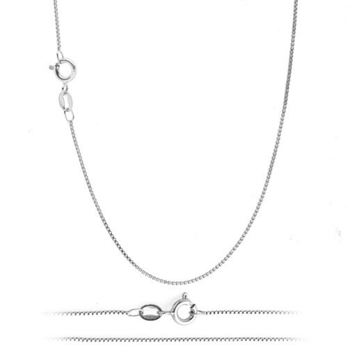 White Gold Plated Thin Box Chain Necklace for Pendants - ALL SIZES - Silver Tone