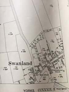 1927-Large-Map-Antique-SWANLAND-VILLAGE-HOLDERNESS-Display-Piece-MANTIQUE