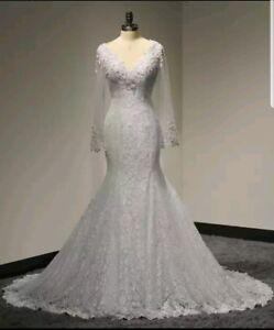 UK-White-Ivory-Lace-Long-sleeve-Pearls-Bridal-Mermaid-Wedding-Dress-Size-6-18