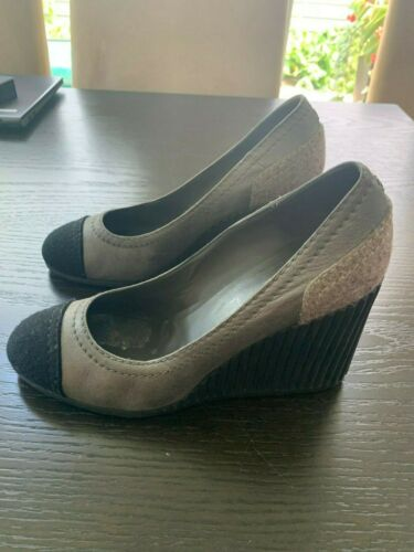 Chanel gray suede wedges